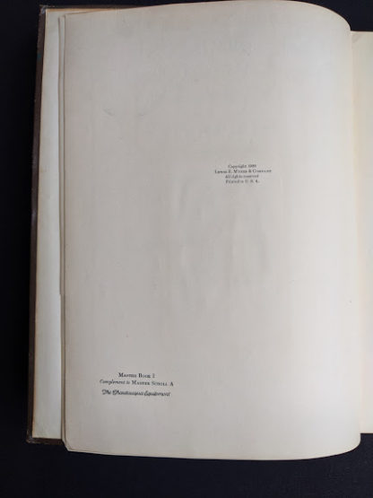 copyright page inside a 1926 copy of Master Book 1 - Beginning the Use of Tools and Materials Published by Lewis E Myers & Company