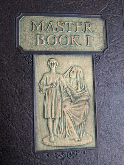 embossed gold design of a mother and child Master Book 1 - Beginning the Use of Tools and Materials Published by Lewis E Myers & Company in 1926