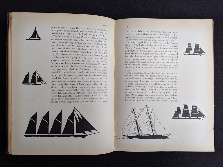 pages inside a 1926 copy of Master Book 1 - Beginning the Use of Tools and Materials Published by Lewis E Myers & Company - how to make a boat