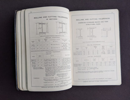 rolling and cutting tolerances in a 1941 copy of Steel Construction published by American Institute Of Steel Construction- third edition - fourth printing