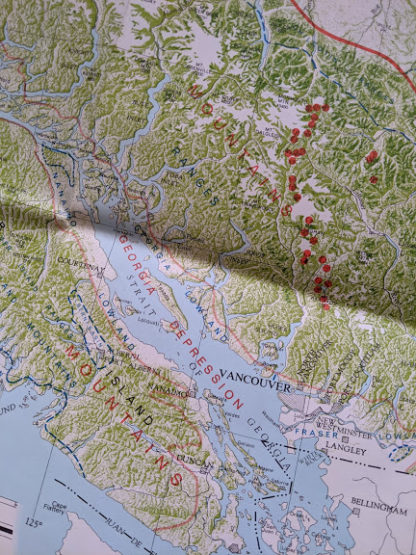 1964 physiographic map of Landforms of British Columbia - up close