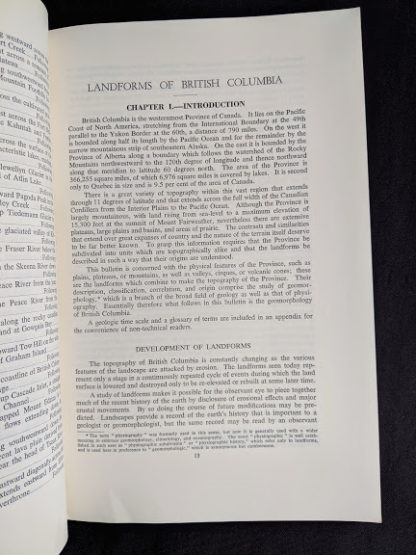 Chapter one inside a 1964 copy of Landforms of British Columbia - A Physiographical Outline by Stuart S. Holland