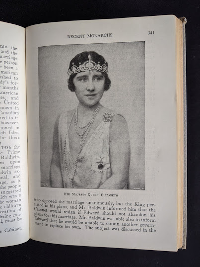 Image of Her Majesty Queen Elizabeth in a 1937 copy of A History of Britain by H. B. King - macmillan company of canada ltd