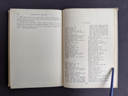 Index at the back of a 1937 copy of A History of Britain by H. B. King - macmillan company of canada ltd