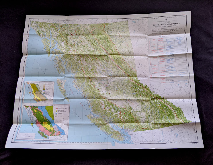 Large map inside a 1964 copy of Landforms of British Columbia - A Physiographical Outline by Stuart S. Holland