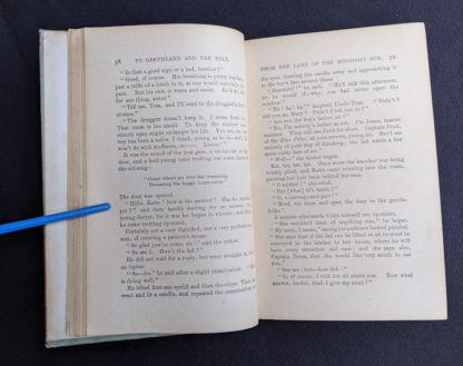 Page 38 and 39 inside a copy of To Greenland and the Pole by Gordon Staples - 1890s circa