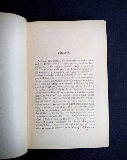 Preface inside a copy of To Greenland and the Pole by Gordon Staples - 1890s circa