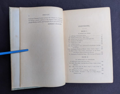Table of Contents page 1 of 2 inside a copy of To Greenland and the Pole by Gordon Staples - 1890s circa
