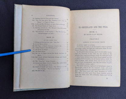 Table of Contents page 2 of 2 inside a copy of To Greenland and the Pole by Gordon Staples - 1890s circa