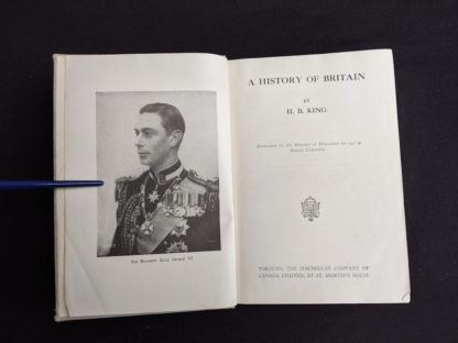 Title page in a 1937 copy of A History of Britain by H. B. King - macmillan company of canada ltd