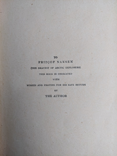 dedication inside a copy of To Greenland and the Pole by Gordon Staples - 1890s circa