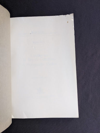 front free paper inside a 1964 copy of Landforms of British Columbia - A Physiographical Outline by Stuart S. Holland