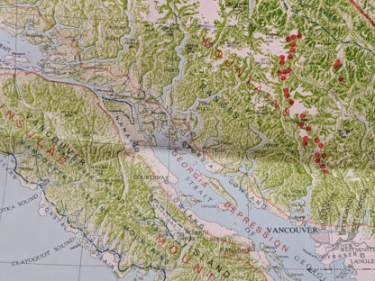 up close on a 1964 physiographic map of Landforms of British Columbia