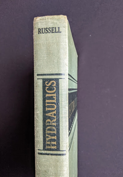 1948 Hydraulics by George Russell - 5th edition - top of spine up close