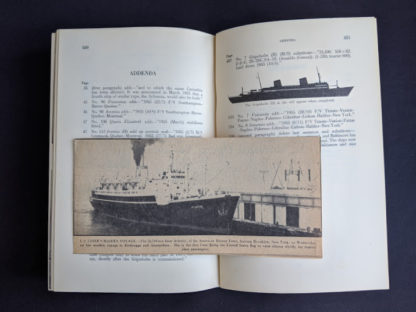 Addenda inside a 1955 copy of North Atlantic Seaway - an illustrated history of the passenger services linking the old world with the new