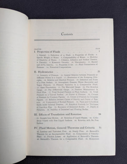 Contents page 1 of 4 inside a 1948 copy of Hydraulics by George Russell - 5th edition