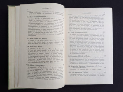 Contents page 2 and 3 of 4 inside a 1948 copy of Hydraulics by George Russell - 5th edition