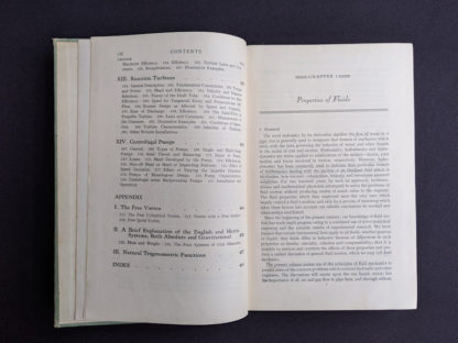 Contents page 4 of 4 inside a 1948 copy of Hydraulics by George Russell - 5th edition