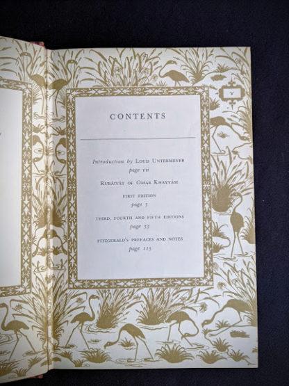 Contents page inside a 1947 copy of Rubaiyat of Omar Khayyam - Random House