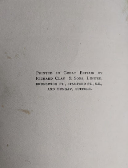 Copyright page inside a 1915 copy of Marys Meadow and Other Tales of Field Flowers by Juliana Horatia Ewing