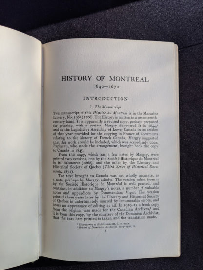 Introduction inside a 1928 limited edition of Montreal 1640-1672 - From the French of Collier De Casson