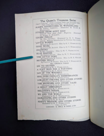 Other books in the series inside a 1915 copy of Marys Meadow and Other Tales of Field Flowers by Juliana Horatia Ewing