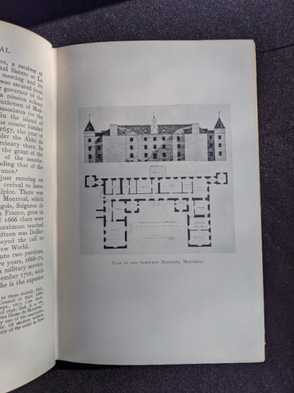 Plan of the Seminary Building in Montreal inside a 1928 limited edition of Montreal 1640-1672 - From the French of Collier De Casson