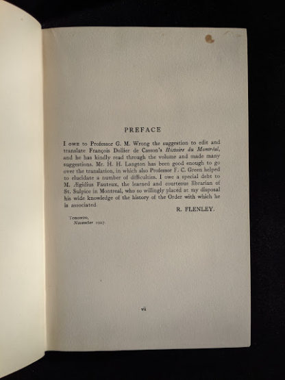 Preface inside a 1928 limited edition of Montreal 1640-1672 - From the French of Collier De Casson