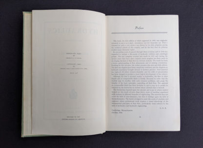 Preface inside a 1948 copy of Hydraulics by George Russell - 5th edition