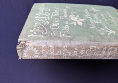 Spine view on a 1915 copy of Marys Meadow and Other Tales of Field Flowers by Juliana Horatia Ewing