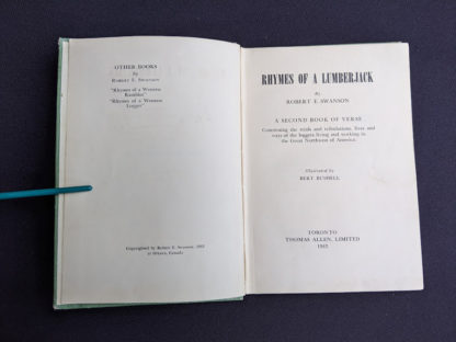 Title page inside a 1943 copy of Rhymes of a Lumberjack by Robert E. Swanson