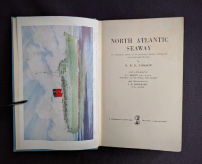 Title page inside a 1955 copy of North Atlantic Seaway - an illustrated history of the passenger services linking the old world with the new