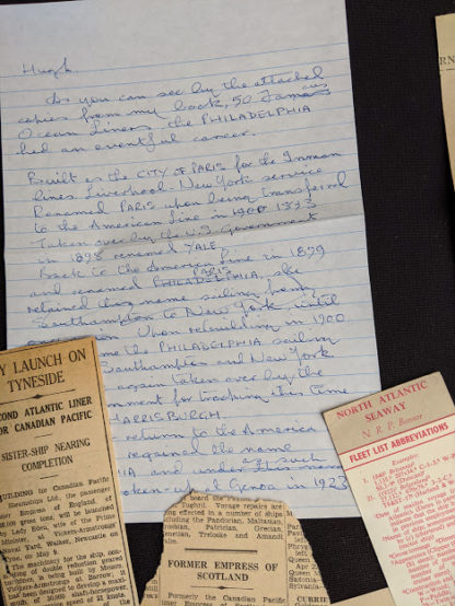 ephemera - a letter written by another nautical author