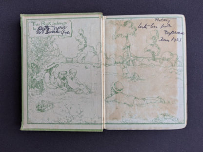 front endpaper and pastedown inside a 1915 copy of Marys Meadow and Other Tales of Field Flowers by Juliana Horatia Ewing