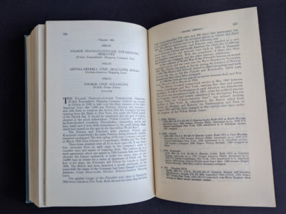 page 526 and 527 inside a 1955 copy of North Atlantic Seaway - an illustrated history of the passenger services linking the old world with the new
