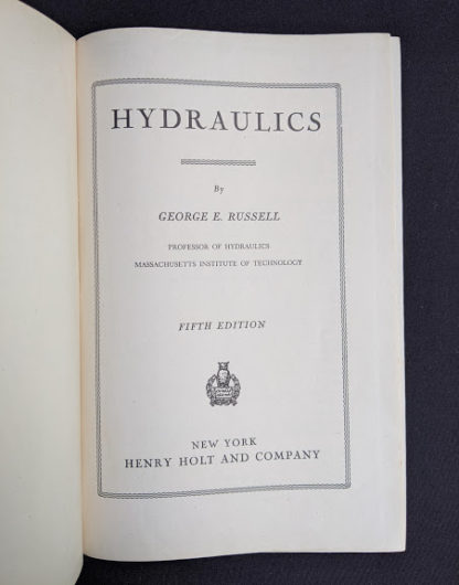 title page inside a 1948 copy of Hydraulics by George Russell - 5th edition