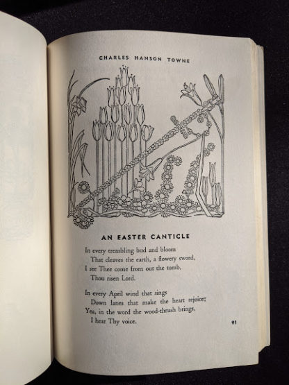 An Easter Canticle inside a 1952 copy of The Easter Book Of Legends And Stories - fourth Edition -illustrated by Pamela Bianco