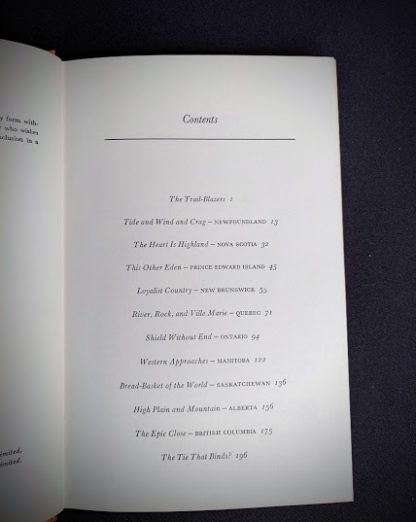 Contents page inside a 1966 The Road Across Canada by Edward McCourt - 2nd Printing