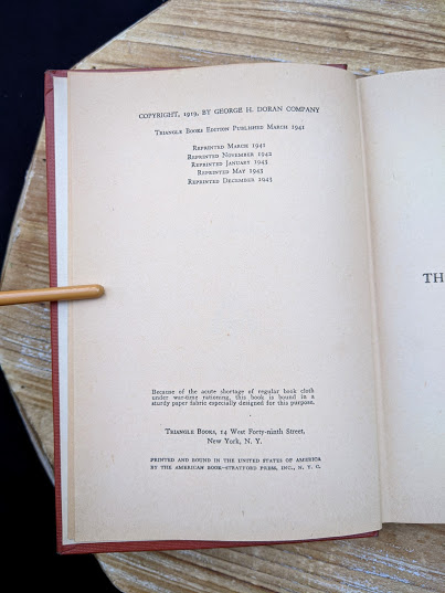 Copyright page inside a 1943 copy of The Moon and Sixpence by W. Somerset Maugham - Photo-Play Edition