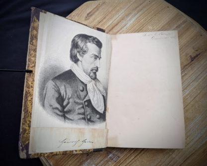 Drawing inside a 1870 copy of Sämtliche Werke - Heinrich Heine - German Book