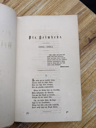 First page inside a 1870 copy of Sämtliche Werke - Heinrich Heine - German Book