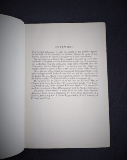 Forward inside a 1945 First Edition The Peacock Sheds His Tail by Alice Tisdale Hobart