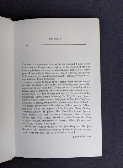 Forward inside a 1966 copy of The Road Across Canada by Edward McCourt - 2nd Printing