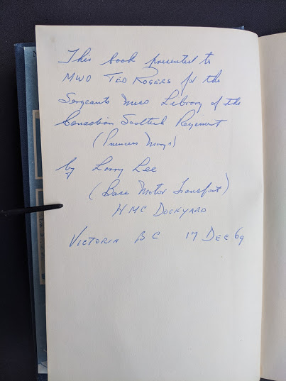 Military related Annotation up close inside a 1946 copy of My Three Years With Eisenhower By Harry C Butcher