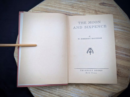 Title page inside a 1943 copy of The Moon and Sixpence by W. Somerset Maugham - Photo-Play Edition