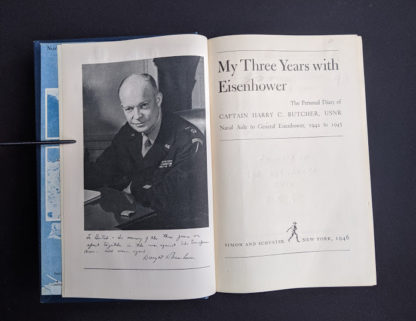 Title page inside a 1946 copy of My Three Years With Eisenhower By Harry C Butcher