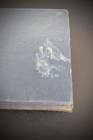 blemish up close on the backside of a 1948 copy of Steam, Air And Gas Power by Severns And Degler 4th Edition