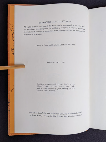copyright page 1966 The Road Across Canada by Edward McCourt - 2nd Printing