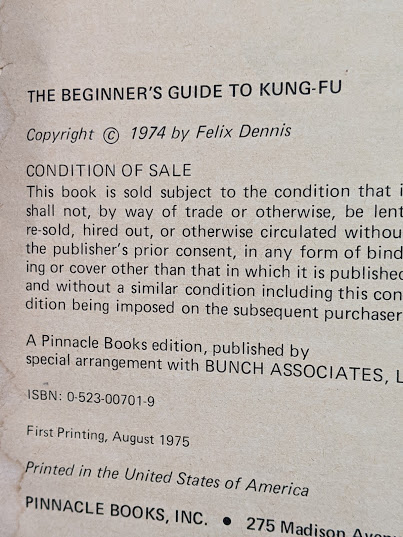 copyright page up close inside a 1975 copy of The Beginners Guide to KUNG-FU by Felix Dennis & Paul Simmons - First Printing