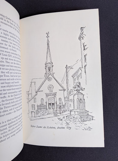 drawing by John Hall of Notre-Dame-des-Victoires Church in Quebec City- 1966 The Road Across Canada by Edward McCourt - 2nd Printing